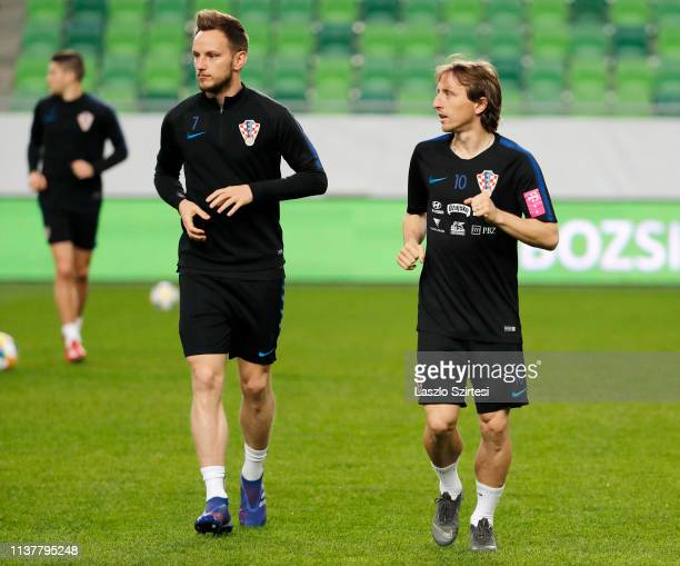 Ivan Rakitic of Croatia and Luka Modric of Croatia attend a training session ahead of the UEFA EURO 2020 Qualifier match between Hungary and Croatia...