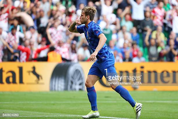Ivan Rakitic of Croatia celebrates after he scored his sides second goal during the UEFA EURO 2016 Group D match between Czech Republic and Croatia...