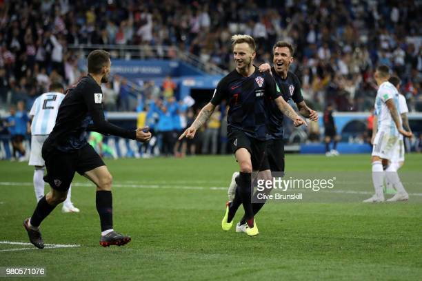 Ivan Rakitic of Croatia celebrates after scoring his team's third goal during the 2018 FIFA World Cup Russia group D match between Argentina and...