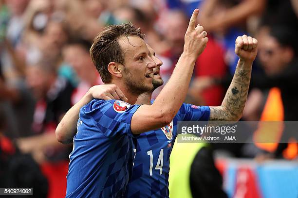 Ivan Rakitic of Croatia celebrates scoring a goal to make the score 0-2 during the UEFA EURO 2016 Group D match between Czech Republic and Croatia at...