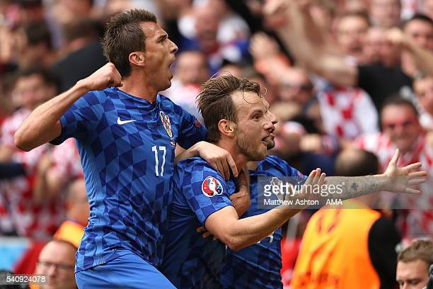 Ivan Rakitic of Croatia celebrates scoring a goal to make the score 02 during the UEFA EURO 2016 Group D match between Czech Republic and Croatia at...