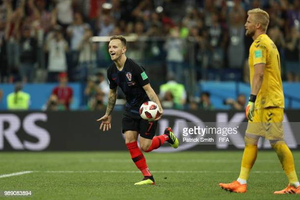 Ivan Rakitic of Croatia celebrates scoring his team's fifth penalty in the penalty shoot out during the 2018 FIFA World Cup Russia Round of 16 match...
