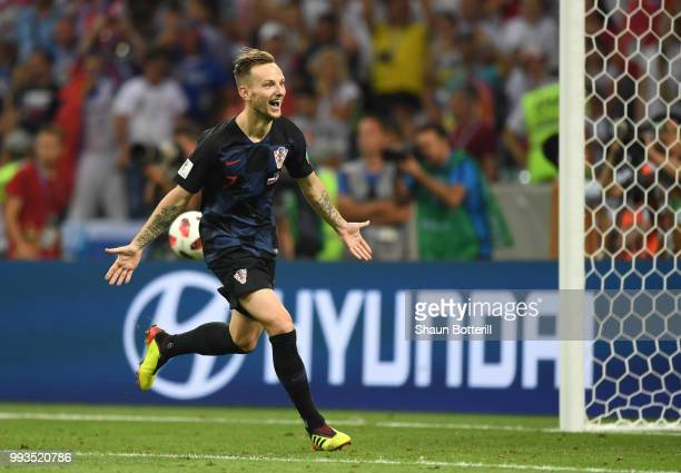Ivan Rakitic of Croatia celebrates scoring his team's fifth penalty the winning penalty in the penalty shoot out during the 2018 FIFA World Cup...