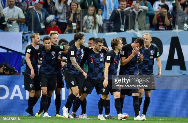 Ivan Rakitic of Croatia celebrates scoring the goal with team mates during the 2018 FIFA World Cup Russia group D match between Argentina and Croatia...