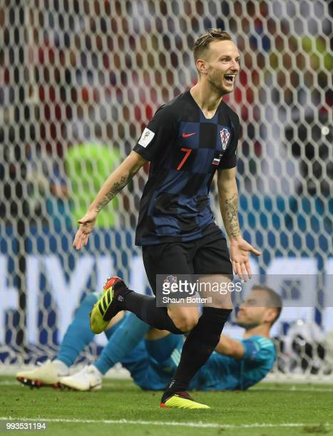 Ivan Rakitic of Croatia celebrates scoring the winning penalty during the 2018 FIFA World Cup Russia Quarter Final match between Russia and Croatia...