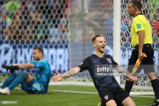 Ivan Rakitic of Croatia celebrates scoring the winning penalty in a shootout during the 2018 FIFA World Cup Russia Quarter Final match between Russia...