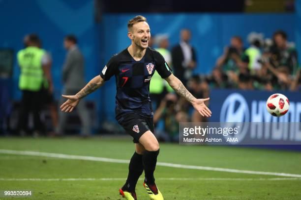 Ivan Rakitic of Croatia celebrates scoring the winning penalty in a shootout during the 2018 FIFA World Cup Russia Quarter Final match between Russia...