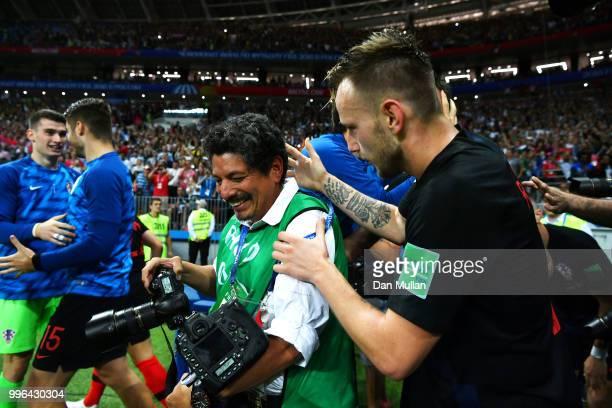 Ivan Rakitic of Croatia celebrates with a photographer after teammate Mario Mandzukic scores Croatia's second goal during the 2018 FIFA World Cup...