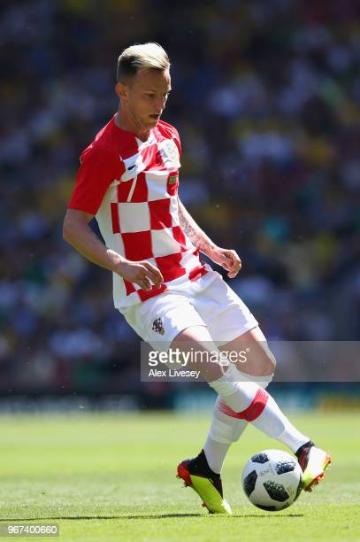 Ivan Rakitic of Croatia controls the ball during the International friendly match between of Croatia and Brazil at Anfield on June 3 2018 in...