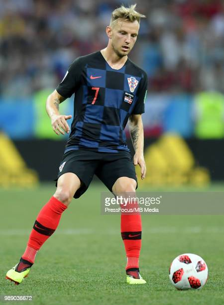 Ivan Rakitic of Croatia in action during the 2018 FIFA World Cup Russia Round of 16 match between Croatia and Denmark at Nizhny Novgorod Stadium on...
