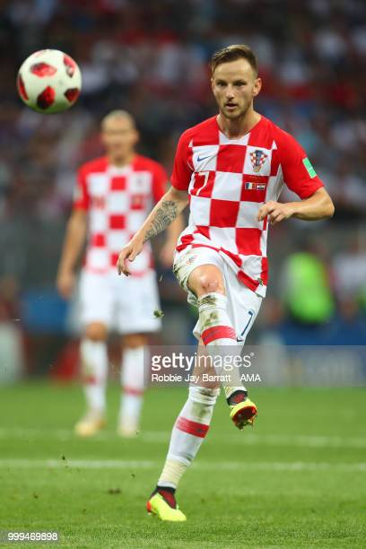 Ivan Rakitic of Croatia in action during the 2018 FIFA World Cup Russia Final between France and Croatia at Luzhniki Stadium on July 15 2018 in...
