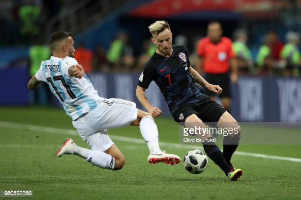 Ivan Rakitic of Croatia is tackled by Nicolas Otamendi of Argentina during the 2018 FIFA World Cup Russia group D match between Argentina and Croatia...