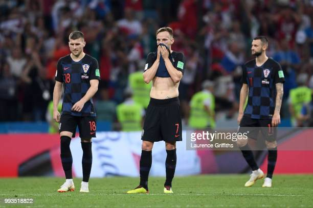 Ivan Rakitic of Croatia look dejected following Russia second goal during the 2018 FIFA World Cup Russia Quarter Final match between Russia and...