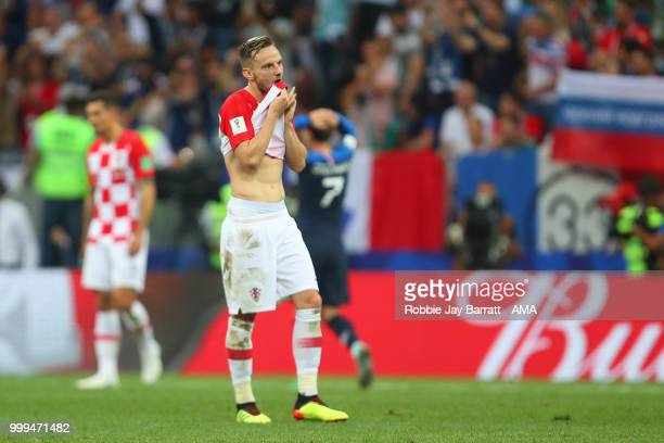 Ivan Rakitic of Croatia looks dejected after Kylian Mbappe of France scored a goal to make it 41 during the 2018 FIFA World Cup Russia Final between...