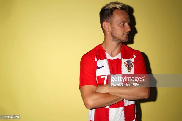 Ivan Rakitic of Croatia poses for a portrait during the official FIFA World Cup 2018 portrait session at Woodland Rhapsody Resort on June 12 2018 in...