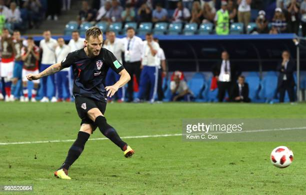 Ivan Rakitic of Croatia scores the fifth and the winning penalty in the penalty shoot out during the 2018 FIFA World Cup Russia Quarter Final match...
