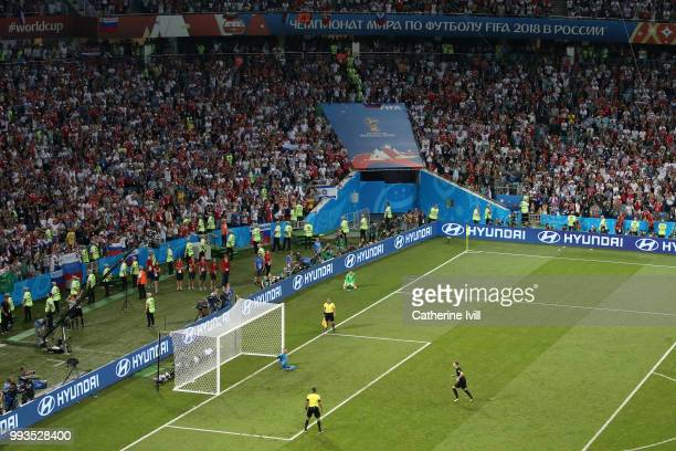 Ivan Rakitic of Croatia scores the fifth, and the winning penalty in the penalty shoot out during the 2018 FIFA World Cup Russia Quarter Final match...