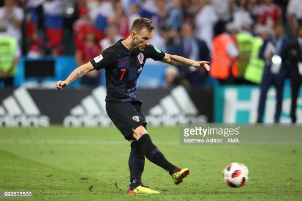 Ivan Rakitic of Croatia scores the winning penalty in a shootout during the 2018 FIFA World Cup Russia Quarter Final match between Russia and Croatia...