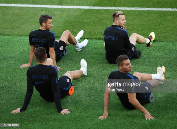 Ante Rebic of Croatia looks on during a Croatia training session during the 2018 FIFA World Cup at Luzhniki Training Field on July 13 2018 in Moscow...