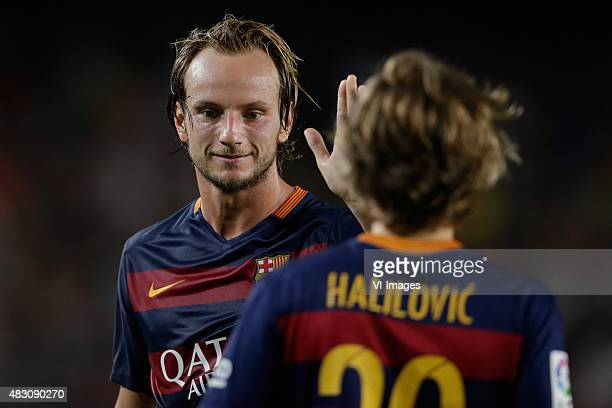 Ivan Rakitic of FC Barcelona Alen Halilovic of FC Barcelona during the Joan Gamper Trophy match between Barcelona and AS Roma on August 5 2015 at the...