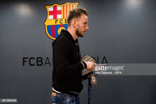 Ivan Rakitic of FC Barcelona arrives to the dressing room ahead of the UEFA Champions League Round of 16 Second Leg match between FC Barcelona and...