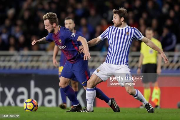 Ivan Rakitic of FC Barcelona Asier Illarramendi of Real Sociedad during the La Liga Santander match between Real Sociedad v FC Barcelona at the...