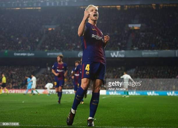 Ivan Rakitic of FC Barcelona celebrates after scoring the first goal for FC Barcelona during the La Liga match between Real Betis and Barcelona at...