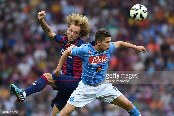 Ivan Rakitic of FC Barcelona clashes with Jorginho of SSC Napoli during the preseason friendly match between FC Barcelona and SSC Napoli on August 6...