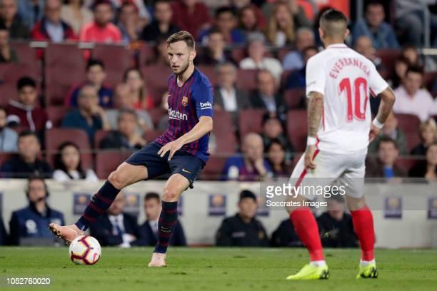 Ivan Rakitic of FC Barcelona Ever Banega of Sevilla FC during the La Liga Santander match between FC Barcelona v Sevilla at the Camp Nou on October...