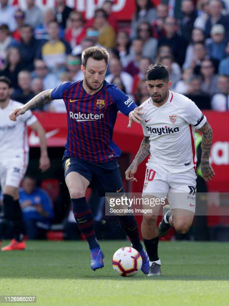 Ivan Rakitic of FC Barcelona Ever Banega of Sevilla FC during the La Liga Santander match between Sevilla v FC Barcelona at the Estadio Ramon Sanchez...