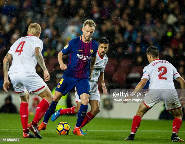 Ivan Rakitic of FC Barcelona in action during the La Liga 201718 match between FC Barcelona and Sevilla FC at Camp Nou on November 04 2017 in...
