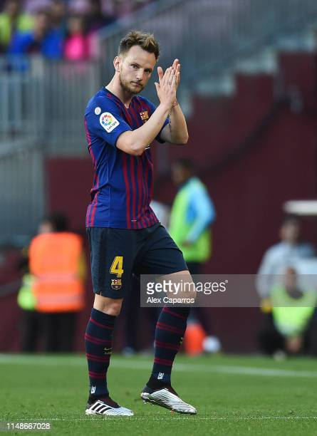 Ivan Rakitic of FC Barcelona leaves the pitch during the La Liga match between FC Barcelona and Getafe CF at Camp Nou on May 12 2019 in Barcelona...
