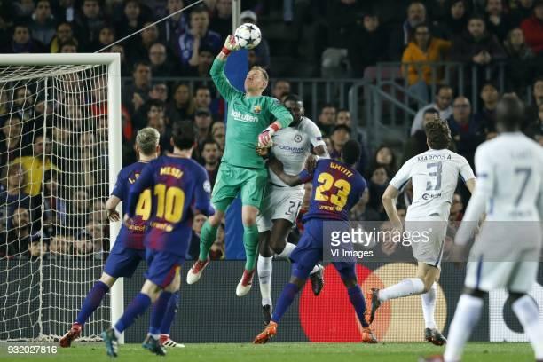 Ivan Rakitic of FC Barcelona Lionel Messi of FC Barcelona goalkeeper MarcAndre ter Stegen of FC Barcelona Antonio Rudiger of Chelsea FC Samuel Umtiti...