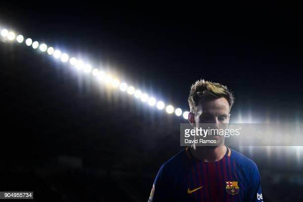 Ivan Rakitic of FC Barcelona looks on during the La Liga match between Real Sociedad and FC Barcelona at Anoeta stadium on January 14 2018 in San...