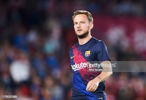 Ivan Rakitic of FC Barcelona looks on during the warm up prior to the Liga match between Granada CF and FC Barcelona at Estadio Nuevo Los Carmenes on...