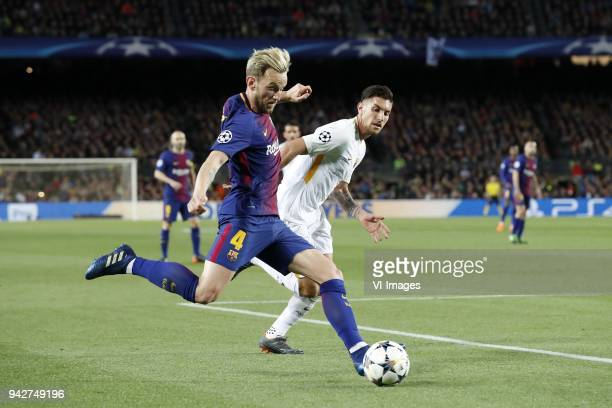 Ivan Rakitic of FC Barcelona Lorenzo Pellegrini of AS Roma during the UEFA Champions League quarter final match between FC Barcelona and AS Roma at...