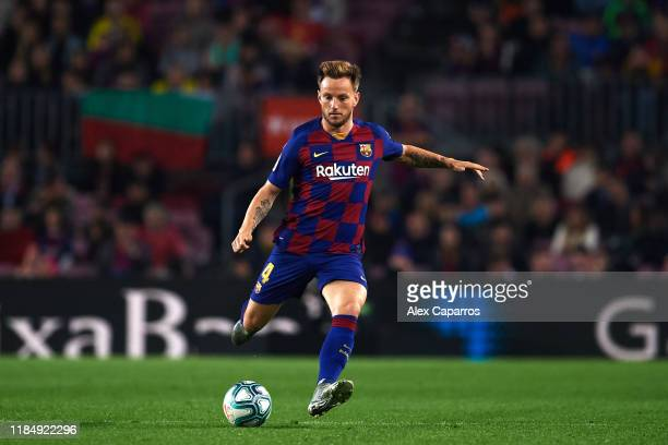Ivan Rakitic of FC Barcelona plays the ball during the La Liga match between FC Barcelona and Real Valladolid CF at Camp Nou stadium on October 29...