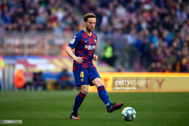 Ivan Rakitic of FC Barcelona plays the ball during the La Liga match between FC Barcelona and SD Eibar SAD at Camp Nou on February 22 2020 in...