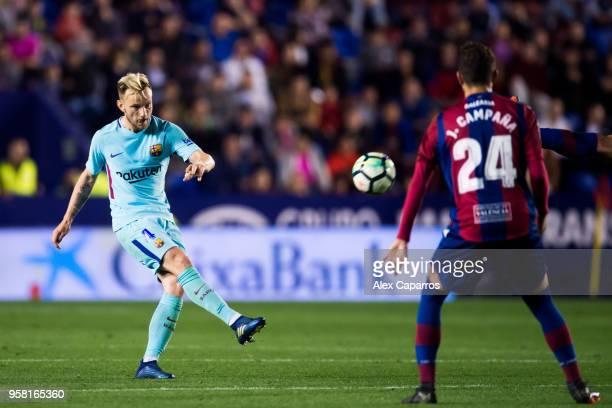 Ivan Rakitic of FC Barcelona plays the ball during the La Liga match between Levante UD and FC Barcelona at Estadi Ciutat de Valencia on May 13 2018...