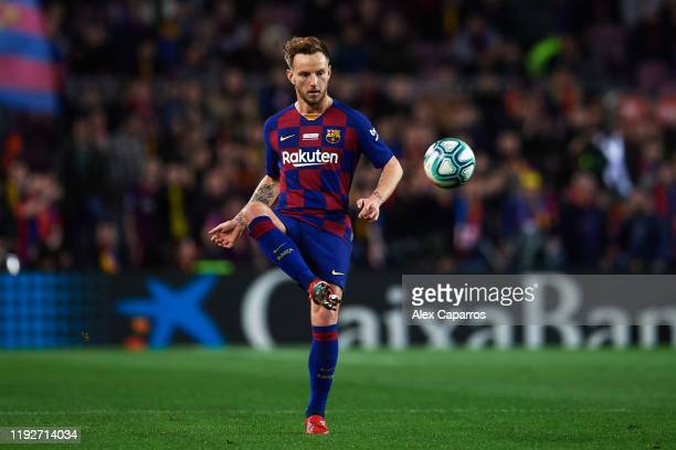 Ivan Rakitic of FC Barcelona plays the ball during the Liga match between FC Barcelona and RCD Mallorca at Camp Nou on December 07 2019 in Barcelona...