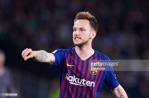 Ivan Rakitic of FC Barcelona reacts during the La Liga match between Real Betis Balompie and FC Barcelona at Estadio Benito Villamarin on March 17...