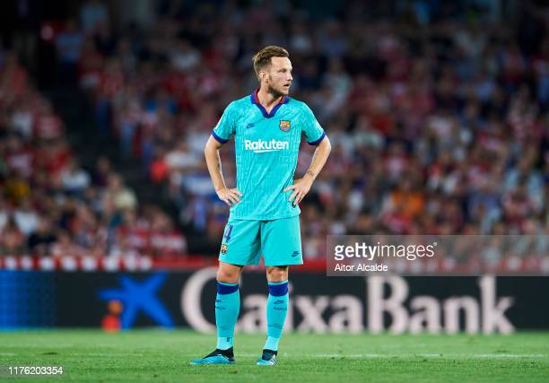 Ivan Rakitic of FC Barcelona reacts during the Liga match between Granada CF and FC Barcelona at Estadio Nuevo Los Carmenes on September 21 2019 in...