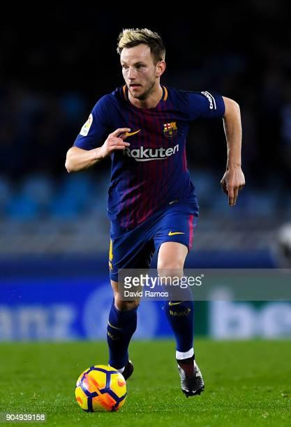 Ivan Rakitic of FC Barcelona runs with the ball during the La Liga match between Real Sociedad and FC Barcelona at Anoeta stadium on January 14 2018...