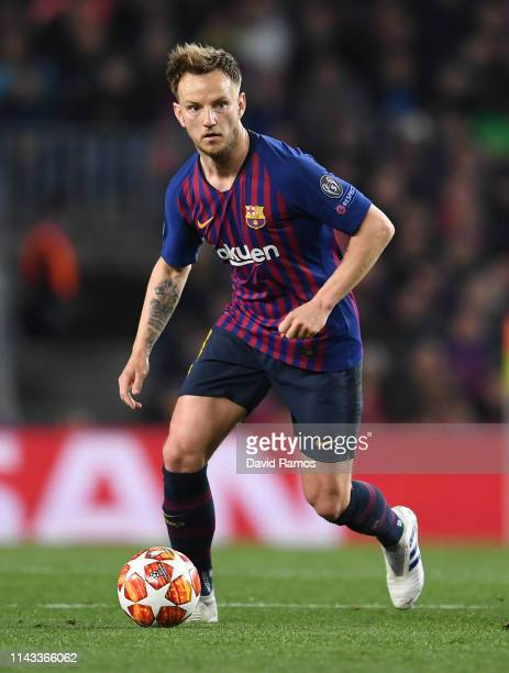 Ivan Rakitic of FC Barcelona runs with the ball during the UEFA Champions League Quarter Final second leg match between FC Barcelona and Manchester...