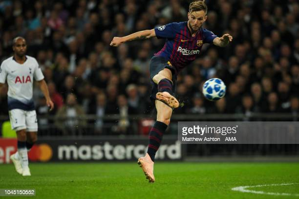 Ivan Rakitic of FC Barcelona scores a goal to make it 02 during the Group B match of the UEFA Champions League between Tottenham Hotspur and FC...