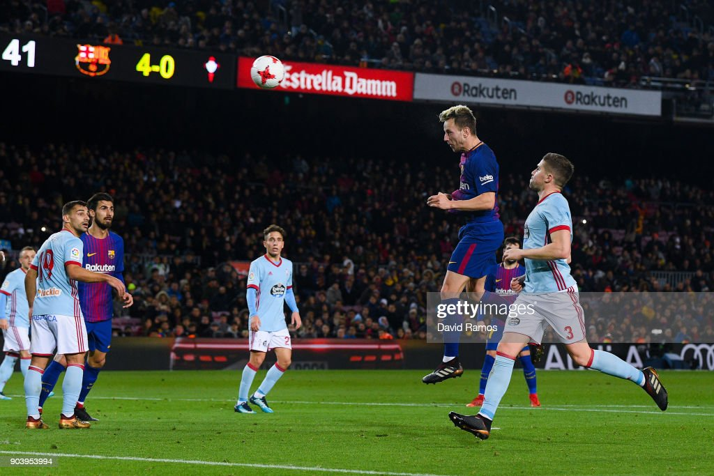Ivan Rakitic of FC Barcelona scores his team's fifth goal during the Copa del Rey round of 16 second leg match between FC Barcelona and Celta de Vigo at Camp Nou on January 11, 2018 in Barcelona, Spain.