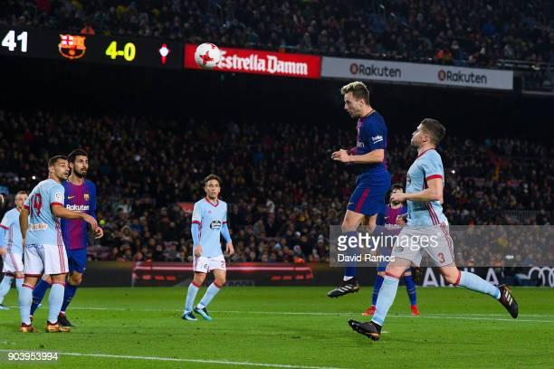 Ivan Rakitic of FC Barcelona scores his team's fifth goal during the Copa del Rey round of 16 second leg match between FC Barcelona and Celta de Vigo...