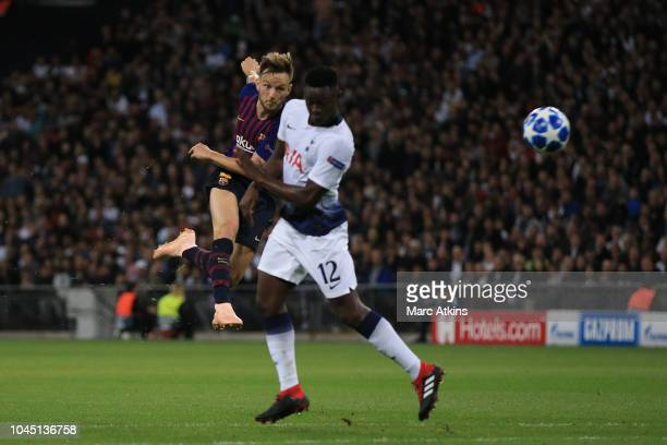 Ivan Rakitic of FC Barcelona scores their 2nd goal during the Group B match of the UEFA Champions League between Tottenham Hotspur and FC Barcelona...