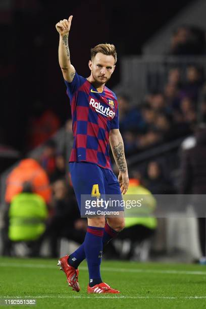 Ivan Rakitic of FC Barcelona shows appreciation to the fans as he walks off the pitch after being substituted during the Liga match between FC...