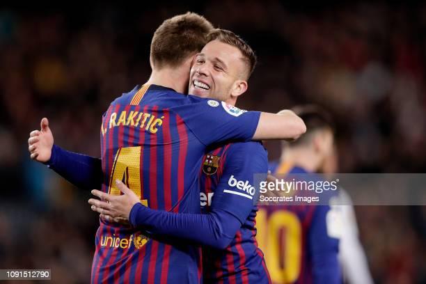 Ivan Rakitic of FC BarcelonaArthur Melo of FC Barcelona celebrate 20 during the Spanish Copa del Rey match between FC Barcelona v Sevilla at the Camp...